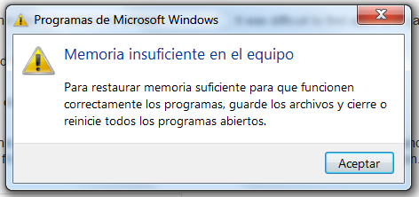 Eliminar error Windows 10: memoria insuficiente en el equipo